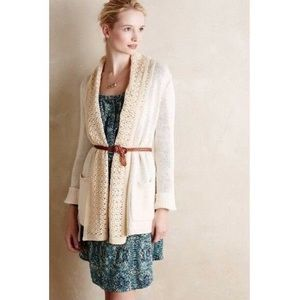 Anthropologie cream crochet knit cardigan sweater